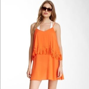 Orange L*Space fringe swim coverup size large